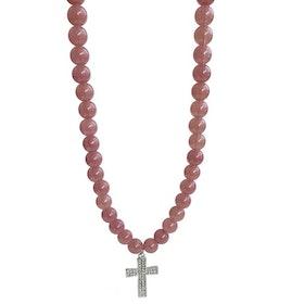 Långt pärlhalsband med kors