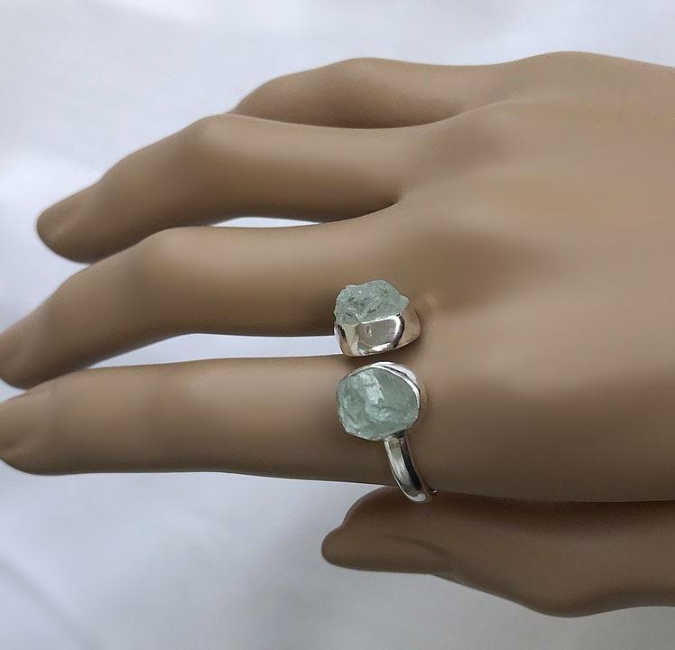 Rå akvamarin ring silver