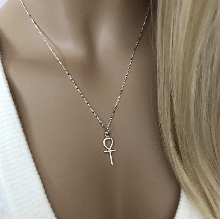 Ankh kors halsband silver