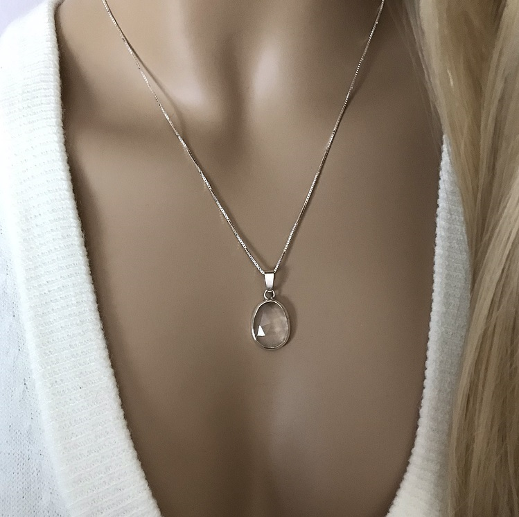 Kristall halsband äkta silver