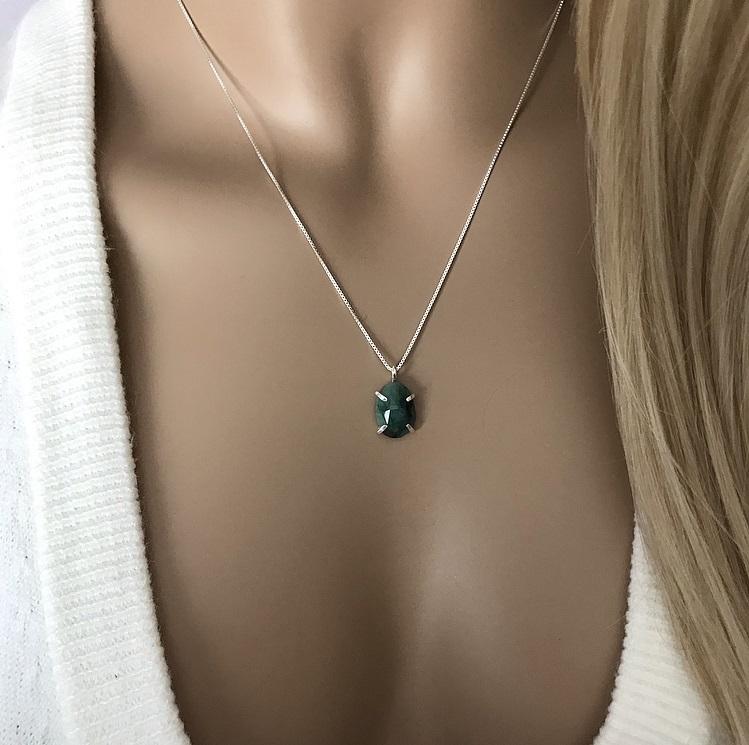Grön emerald halsband silver