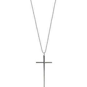 Silverhalsband med långt kors