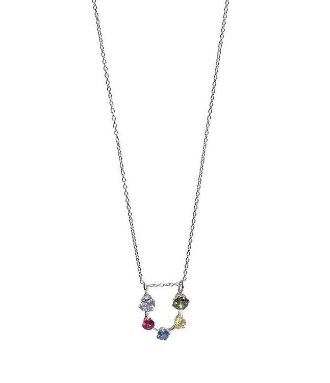 Silverhalsband med färgglada stenar