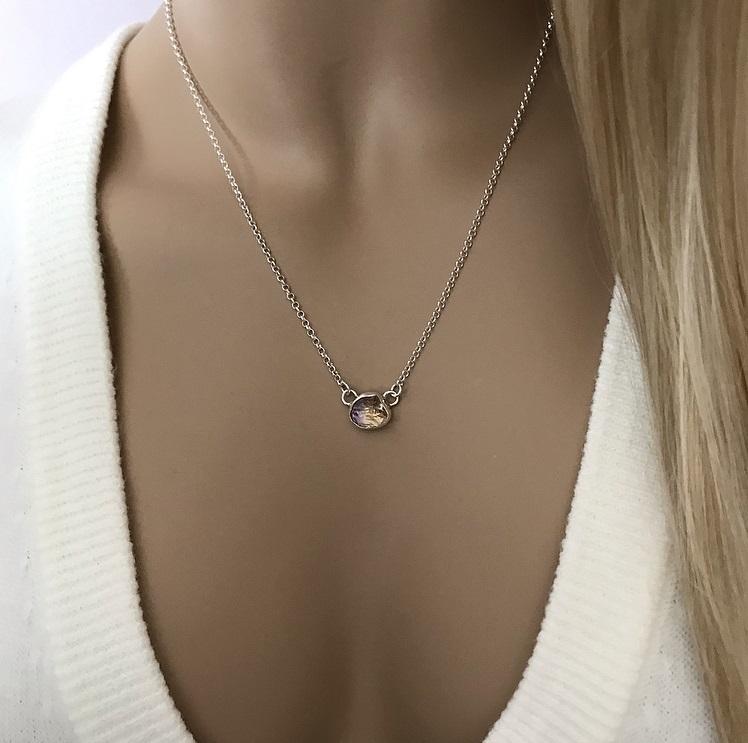 Ametrin halsband silver