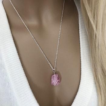 Halsband med rosa Bergskristall