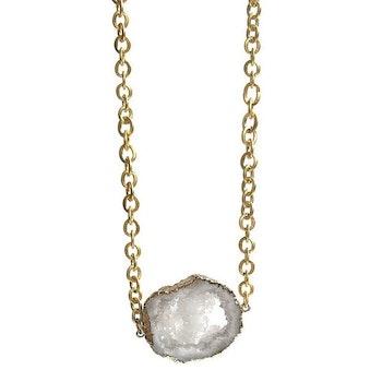 Halsband med vit Druzy Agat sten