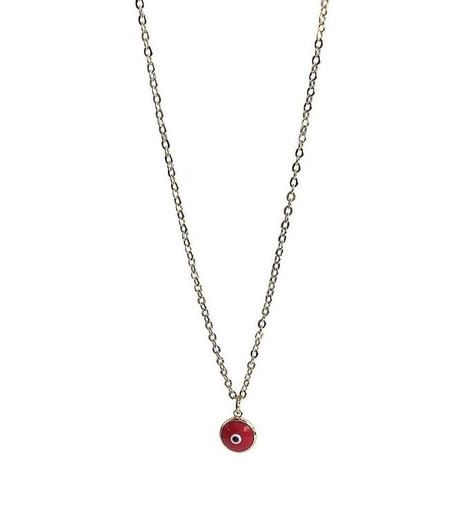Guldpläterat halsband med rött öga