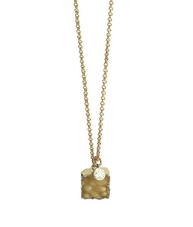 Halsband med gul fyrkantig sten