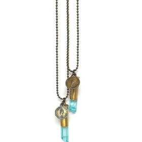 Crystal bullet halsband med turkosa kristall