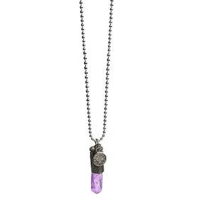 Crystal bullet halsband med lila kristall