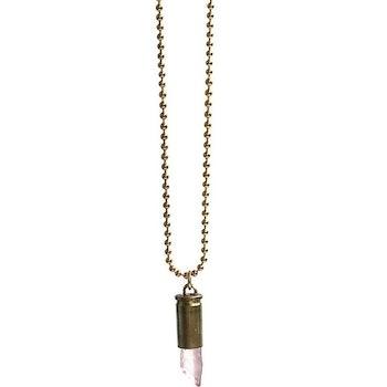 Crystal bullet halsband med rosa kristall