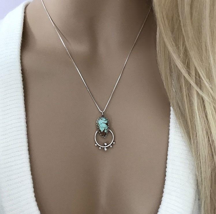 Halsband med turkos sten silver