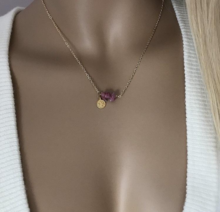 Rosa turmalin halsband