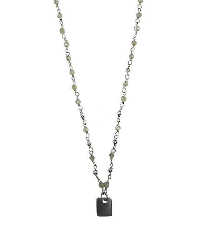 Halsband gröna Prehnit stenar silver