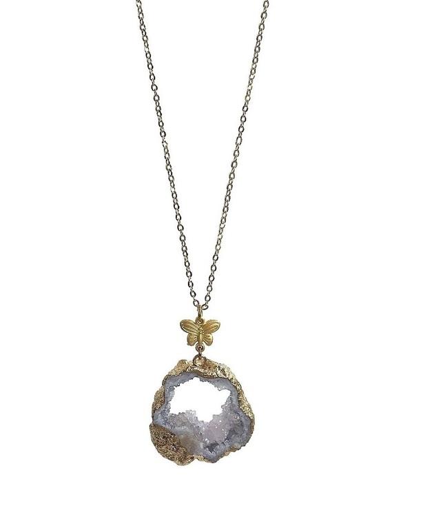 Halsband lila sten guldpläterat
