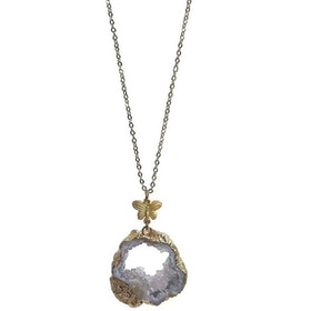 Halsband med lila Agat geod
