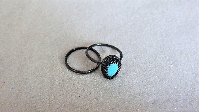 Svart turkos ring silver