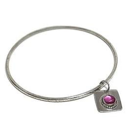 Bangle armband med berlock silver