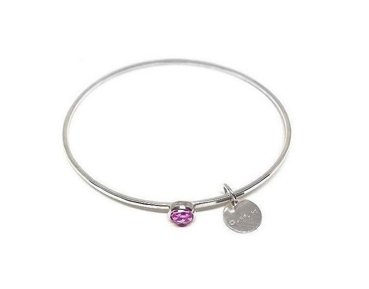 Armring med rosa safir sten silver