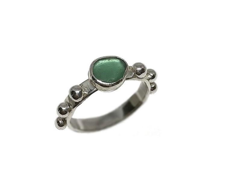Grön sjöglas ring silver