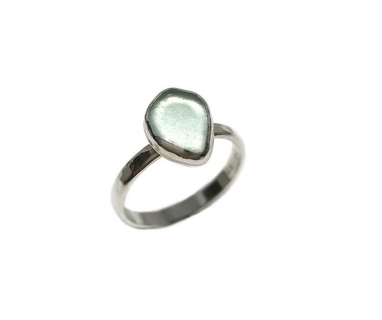 Sjöglas ring i silver aqua