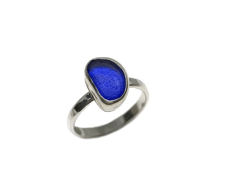 Silverring blå sjöglas