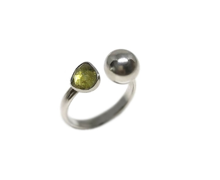 Silverring grön turmalin