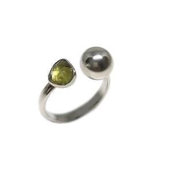 Grön Turmalin ring silver