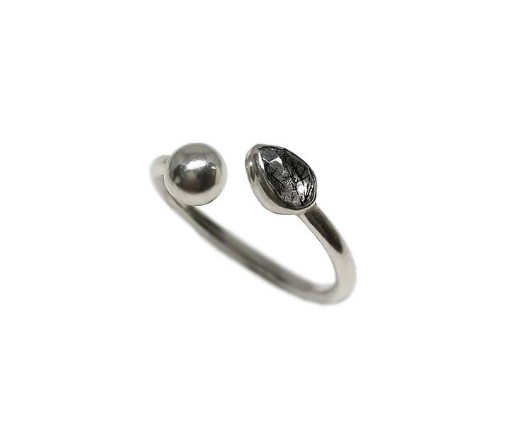 Silverring svart turmalin
