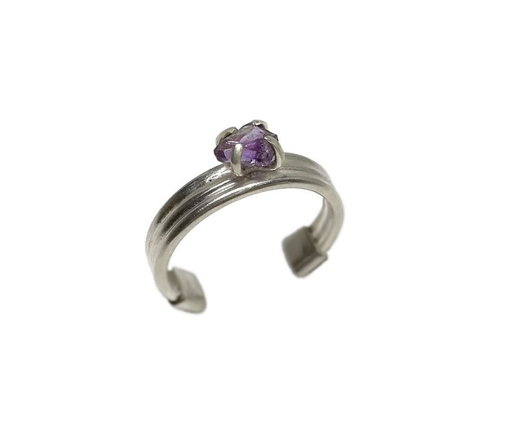 Rå ametist ring silver