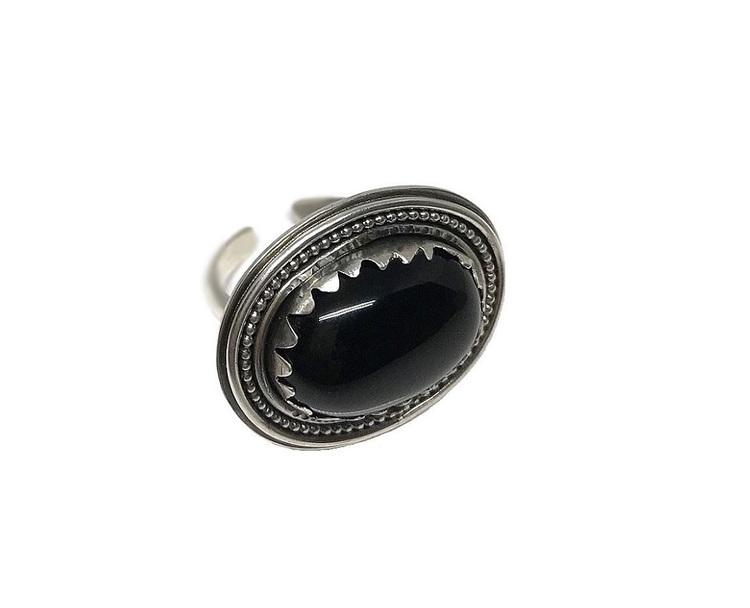 Svart onyx ring i silver stor