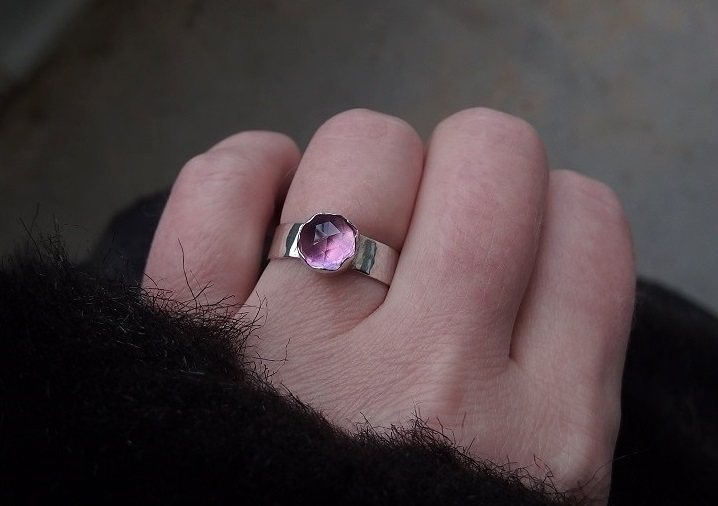 Silverring rosa safir