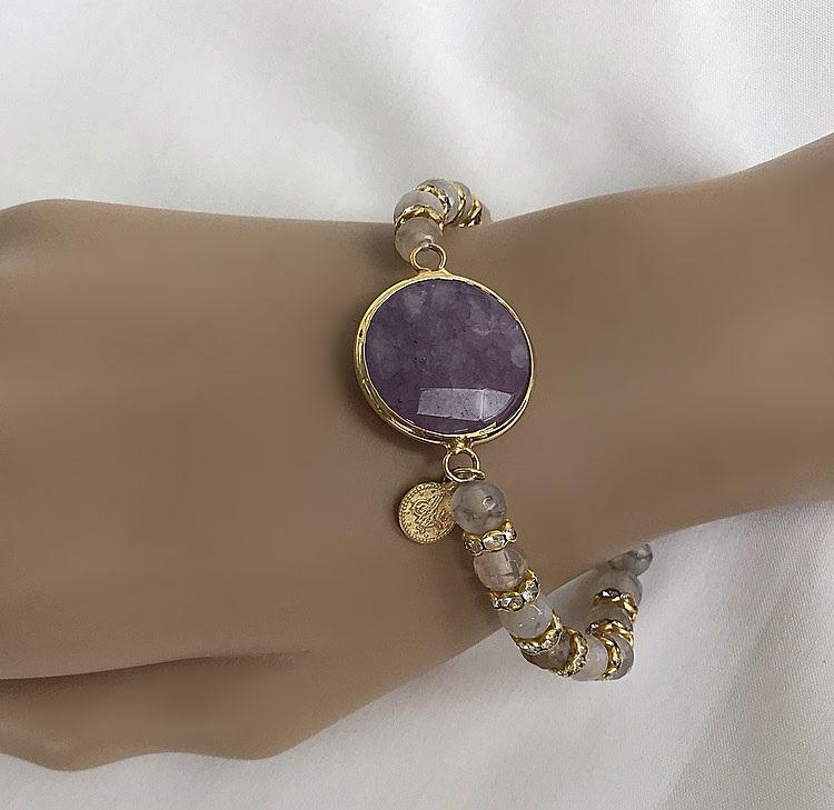Armband med grå agat stenar
