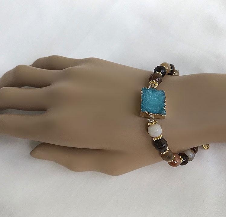 Sten armband blått och brunt