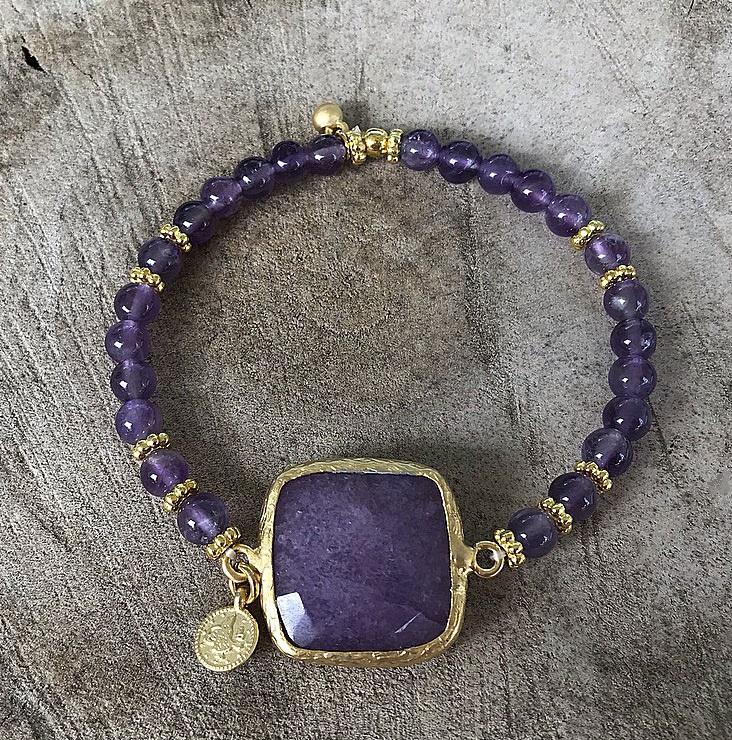 Lila jade och ametist armband
