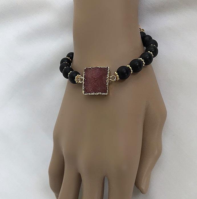 Druzy agat armband svart och röd