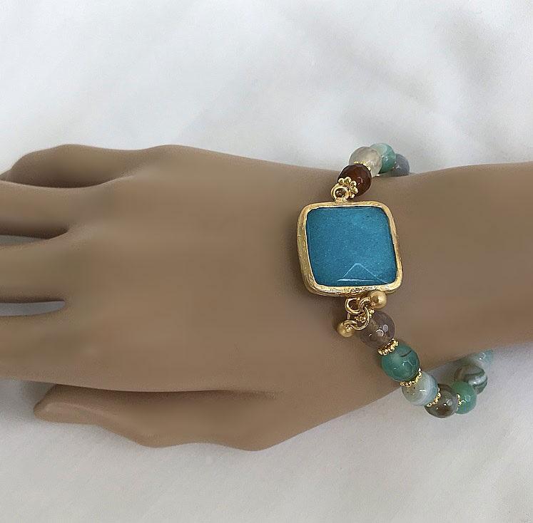 Sten armband blågrönt