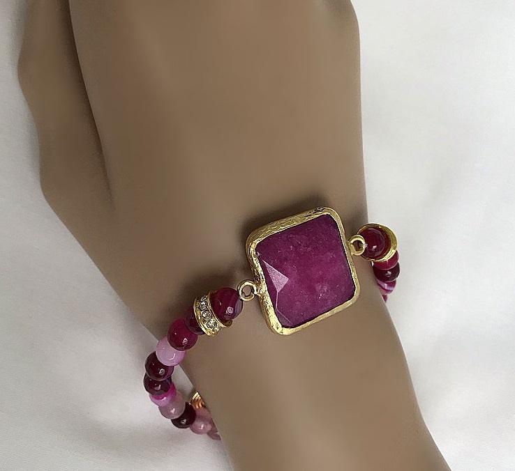 Rosa sten armband mixade färger