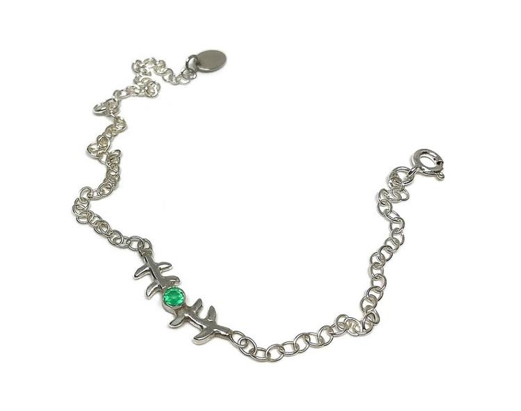 Armband grön onyx silver
