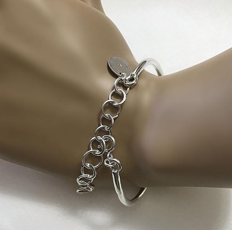 Stelt armband med kedja silver