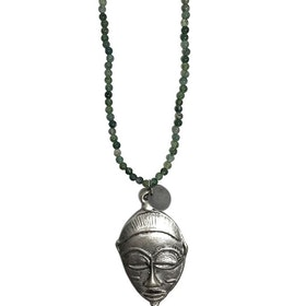 Långt grönt sten halsband