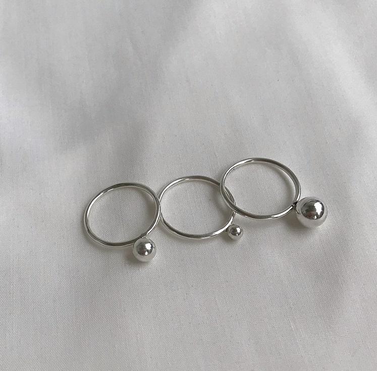 Ring med kula silver 3 pack