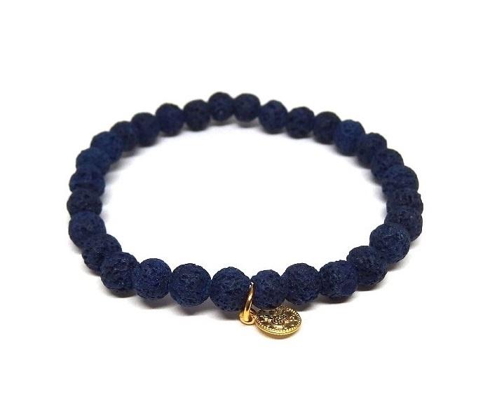 Armband blå lava stenar herr
