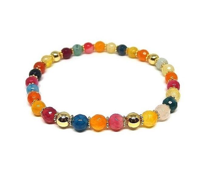 Armband mixade färgglada stenar för herr