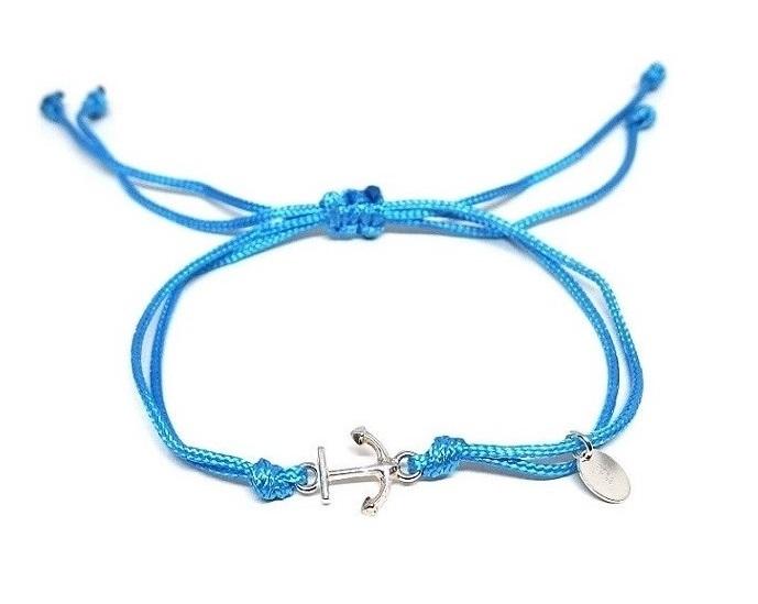 Armband med ankare blått trådarmband herr