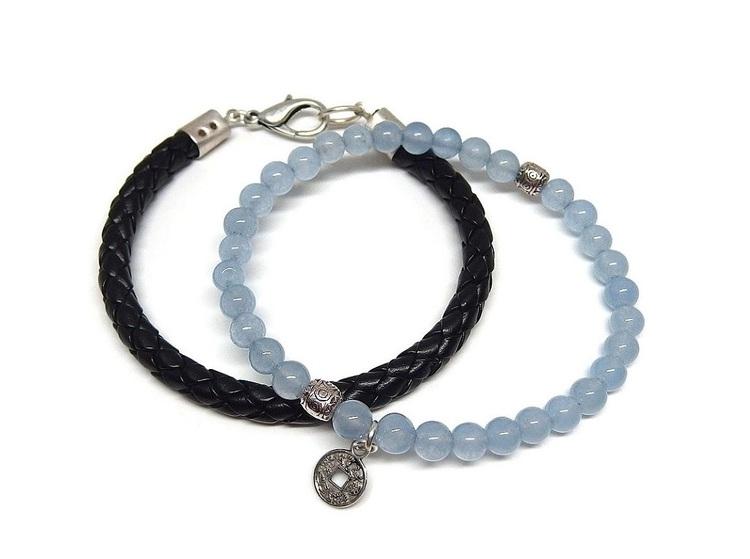 Armband set svart läder och blå jade stenar
