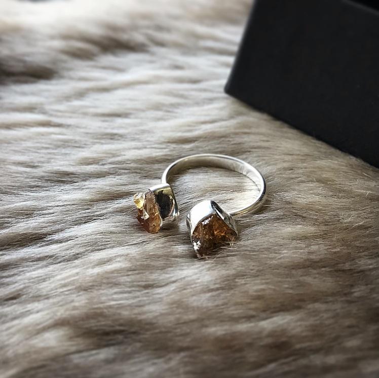 Rå citrin ring äkta silver