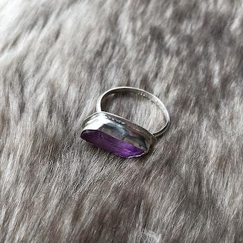 Silverring lila rå Kristall