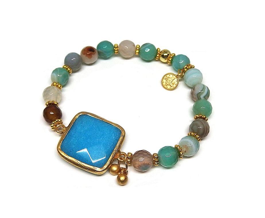 Armband blåmixat med stenar