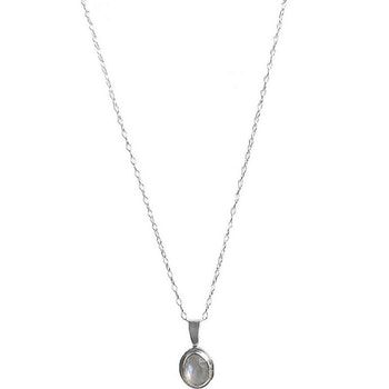 Regnbågsmånsten halsband silver